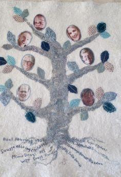 Stamboom geboorte dekentje van vilt