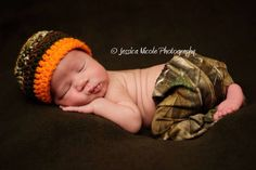 Baby Camo Pants and Crochet Hat set Hunting Outfit by KaityBraedy, $25.00