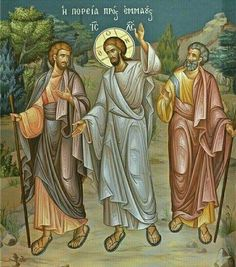 Icon of Christ walking with the disciples on the road to Emmaus. This Gospel is read on Bright Tuesday. Religious Icons, Religious Art, Road To Emmaus, Church Icon, Religion, Sign Of The Cross, Christian Artwork, Life Of Christ, Biblical Art