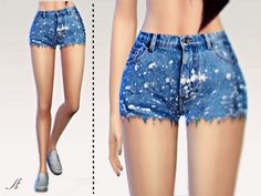 Plams Jeans Shorts by Apathie at TSR via Sims 4 Updates