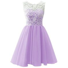 Dresstells® Short Tulle Prom Dress Bridesmaid Homecoming Gown with... ($61) ❤ liked on Polyvore featuring dresses, gowns, lace bridesmaid dresses, lace dress, purple bridesmaid dresses, purple gown and prom dresses