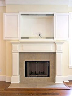 7 Fabulous Simple Ideas: Fireplace Cover Accent Walls double sided fireplace with built ins.Freestanding Fireplace Ceilings fireplace makeover on a budget.Fireplace Tile Mother Of Pearls. Home Fireplace, Fireplace Remodel, Fireplace Design, Fireplaces, Fireplace Ideas, Hide Tv Over Fireplace, Craftsman Fireplace, Renovate Fireplace, Fireplace Bookcase