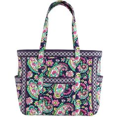 Vera Bradley Get Carried Away Tote in Petal Paisley ($69) ❤ liked on Polyvore featuring bags, handbags, tote bags, petal paisley, totes, travel tote bags, quilted tote bag, zippered tote, vera bradley purses and zippered tote bag