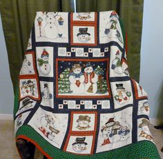 Snowman Panel quilt. I love the panel quilts because they make up so quickly and I can get a few made for gifts. I gave this one to my son's third grade teacher. He's 16 now.