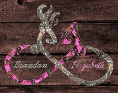 Personalized Camo Browning Buck And Doe Fishing Hook Vinyl Car - Browning custom vinyl decals for trucks
