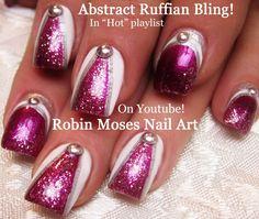 Nail Art Tutorial | DIY Abstract Glitter Nail Design | Ruffian Bling wit...