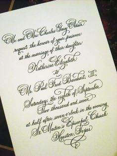 Wedding invitation designed in hand calligraphy - copperplate script