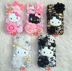 5 colors new style hello kitty diy deco kit for cell phone iphone 5 c Decoden Phone Case, Kawaii Phone Case, Girly Phone Cases, Diy Phone Case, Iphone Phone Cases, Iphone 4, Cellphone Case, Laptop Cases, Diy Coque
