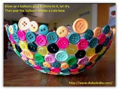 Balloon craft with buttons :) luv this Crafts For Kids, Cute Crafts, Easy Crafts, Crafts Cheap, Arts And Crafts, Balloon Crafts, Balloon Balloon, Crafts With Balloons, Button Bowl