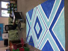 Ikea plain canvas rug + painters tape + Krylon spray paint = classroom meeting rug!