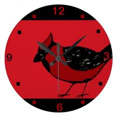 CARDINAL BIRD RED & BLACK Wall Clock