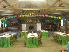 Hawaiian Luau Party Decorations | LUAU THEMED BALLOON DECORATIONS FOR 16TH BIRTHDAY