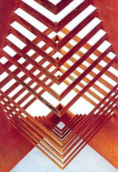 escultura aço oxidado - origami arqutetonico by rosy papatella\detalhe