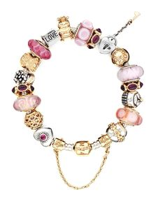 PANDORA Bracelet - Sterling Silver with Pink & Gold Charms, Moments Collection | Bloomingdale's