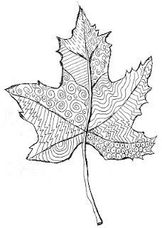 Paint fall colors and once dry, trace and cut out leaf shape and then doodle over in black marker