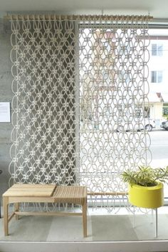 30 Lovely Macrame DIY Crafts - 30 Lovely Macrame DIY Crafts You are in the right place about diy decor modern Here we offer you th - Macrame Wall Hanger, Macrame Curtain, Large Macrame Wall Hanging, Macrame Projects, Diy Projects, Diy Room Divider, Room Dividers, Curtain Divider, Divider Ideas