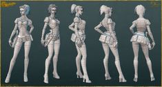 Lady Mechanika: AO, Normals, and Wires by YBourykina on deviantART