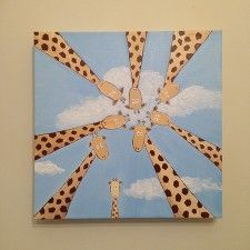 "Giraffe family acrylic canvas painting 12"" x 12"" - front view"