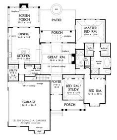 Craftsman Style House Plan - 3 Beds 2 Baths 2046 Sq/Ft Plan #929-6 Floor Plan - Main Floor Plan - Houseplans.com