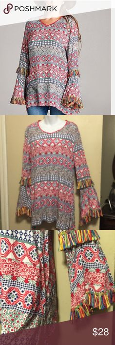 Plums Geometric Fringe Tunic Dress New Flared and fringed sleeves give you flowing Bo-ho inspired style in a casual tunic . Super soft fabric lends lasting comfort and a flattering v-neckline . 100%rayon . Length is 31 inches . Bust is 20 inches. Sleeves are 27 inches . velzera Dresses Mini