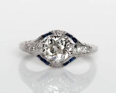 Circa 1920s Art Deco Platinum .87ct Old European Cut Diamond