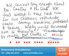Thank You So Much! - WhyiLike #Patient #Reviews - Riverstone #Orthodontics in Couer D'Alene, ID