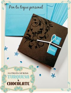 Invitación de boda turquesa y chocolate. Turquoise and dark brown wedding card.
