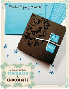 Invitación de boda turquesa y chocolate. Turquoise and dark brown wedding card.