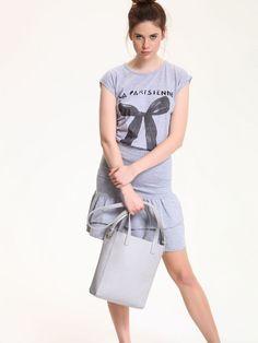 Comanda online, Tricou casual din bumbac Top Secret gri cu print. Articole masurate, calitate garantata!