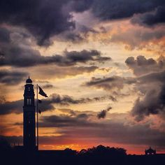 Purple and Gold sunset over LSU's Memorial Tower and Parade Ground :)
