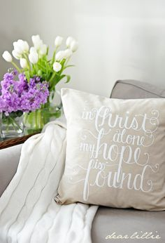 Dear Lillie shop - 'In Christ Alone' 20x20 Pillow Cover in White