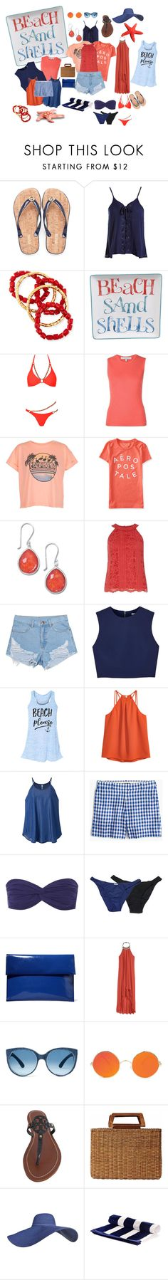 """Navy and bright coral weekend get-away"" by izimaher ❤ liked on Polyvore featuring Sans Souci, NEST Jewelry, Certified International, Agent Provocateur, Carolina Herrera, New Look, Aéropostale, Dorothy Perkins, Alice + Olivia and H&M"