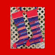 Ethnic Christmas Stockings in Tribal Akha Embroidery and Applique