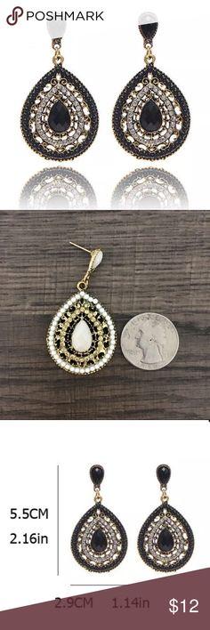 Boho Beaded Drop Earrings New! Boho style crystal beaded dangle drop earrings in Black. Rhinestone and alloy. Gift box included with purchase. Jewelry Earrings