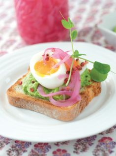 Spring Tartine With Sweet Pea & Avocado Hummus, Eggs and Pickled Onions | Edible Feast via Edible Long Island #ediblekitchen #ediblespring