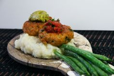 Spicy Shrimp Cakes with Mash and Sautéed Green Beans