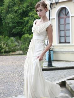 Style A-line Scoop Ruffles Sleeveless Floor-length Chiffon Prom Dresses / Evening Dresses beautiful maybe for rehearsal dinner Cowl Neck Wedding Dress, One Shoulder Wedding Dress, Chiffon Evening Dresses, Prom Dresses, Wedding Dresses, Bridesmaid Dresses, Engagement Dresses, Dresses 2013, Graduation Dresses