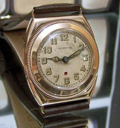 V RARE 1930's HARWOOD GOLD SELF WINDING DECO WATCH + STRAP PRE DATES ROLEX AUTOS