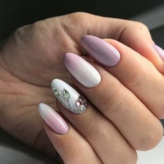 Beautiful delicate nails, Beige gel polish, Fashion ombre nails, Festive nails, Manicure in autumn style, Nails with stones, Ombre nails, Party nails
