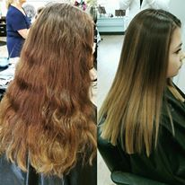 soft natural ombre - dark brown roots to soft caramel ends.