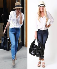 | Weekend wear: Pair a white blouse with jeans, a fedora & oversized bag ...