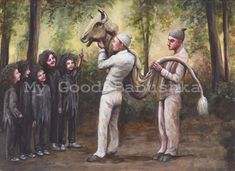 Taurus, Original Painting, Bull, Costume, Forest, Fairy Tale, Folk Tale, Children, Surreal, Illustration, Masquerade, Children, Mask, by mygoodbabushka on Etsy