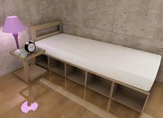カラーボックスを使ったDIY家具の中では、かなりチャレンジしている部類に入ると思いますが、ベッドの作り方をご紹介します。しかも収納付きです。 さすがにカラーボックスだけだと強度に不安がありますので、補強材として2×4材を …