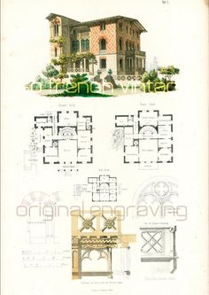 1854 Italian country house plans.