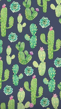 Cactus Backgrounds, Cute Wallpaper Backgrounds, Wallpaper Iphone Cute, Pretty Wallpapers, Flower Wallpaper, Mobile Wallpaper, Pattern Wallpaper, Iphone Wallpapers, Paper Cactus