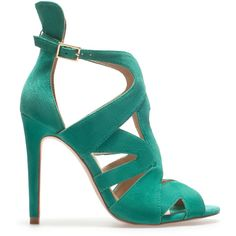 Zara Strappy High-Heel Sandals ($20) ❤ liked on Polyvore featuring shoes, sandals, heels, zara, green, leather heeled sandals, leather strappy sandals, strappy shoes, strap heel sandals and leather shoes