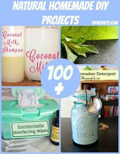 100 natural homemade DIY projects - not all of these deal with cleaning. Some of these are health and beauty ideas.
