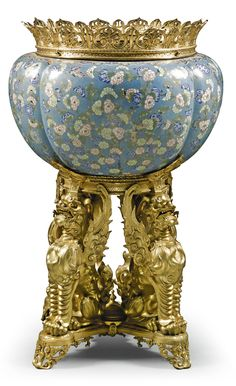 A French gilt-bronze-mountedChinese cloisonné enamel jardinière, in the manner of Ferdinand Barbedienne second half19th century