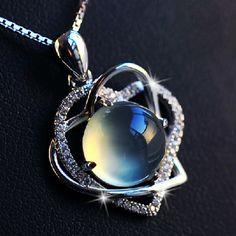 Natural Prehnite Gemstone 925 silver Heart Shape Necklace in Pink. So pretty.
