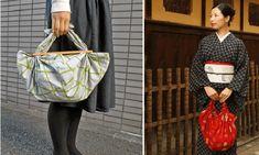 Los bolsos furoshiki son una alternativa práctica y ecológica al uso de bolsas de nylon, y con esta técnica japonesa se pueden hacer bolsos con pañuelos. Look Kimono, Textiles, Longchamp, Sewing Crafts, Tote Bag, Bags, Accessories, Women, Patterns